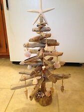 Driftwood Christmas Tree with Seashell Ornaments, handmade