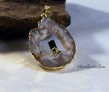 Amethyst Point Healing Gold Wrapped  Occo Geode Druzy Pendant
