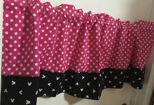 Pink Polka Dot With Black And White Minnie Mouse Border Curtain Valance