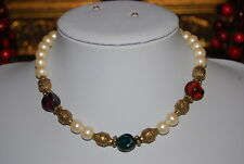 VINTAGE JEWELS OF INDIA STYLE STRAND NECKLACE FAUX WHITE PEARLS RED GREEN GLASS
