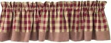 UNLINED CURTAIN VALANCE 72X14 YORK WINE BUFFALO CHECK COTTON PRIMITIVE COUNTRY