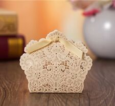 10Pcs Wedding Favours Sweets Boxes Bags Table Decorations - Gold Lace Laser Cut
