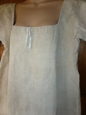 Vintage Ecru French Dairymaids Farmers Linen Hemp Smock Lagenlook RedMonogram MC