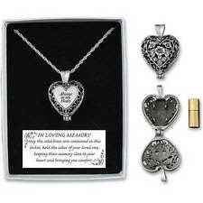 Memorial Locket Necklace Always in My Heart shaped Loving Memory Ash holder Urn