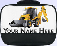 YELLOW DIGGER PERSONALISED SCHOOL NURSERY LUNCH BOX / BAG *BOY'S NAMED GIFT*