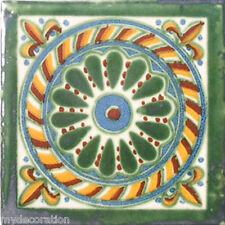 C#051) MEXICAN TILE CERAMIC TALAVERA MEXICO HAND MADE ART TALAVERA TILE