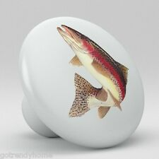 Rainbow TROUT Fish Ceramic Knobs Pulls Kitchen Drawer Cabinet Vanity Closet 551