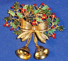 Vintage signed WEISS Enamel Holly Tree Bells Bow Christmas Brooch Pin