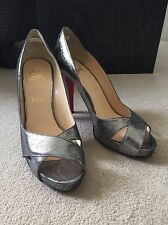 Genuine Christian Louboutin silver peep toe shoes, size 39 1/2 or 6UK