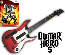 NEW Nintendo Wii Guitar Hero 5 Wireless Guitar & GH World Tour Game Bundle RARE
