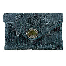 Mary Frances Blue Shimmer Denim Dark Clutch Bead New Handbag Purse Bag New