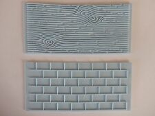 2pcs Cake Decoration Border Fondant Wall Brick Wood Grain Mold Mould Embosser