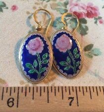 ZARAH Sterling Silver 925  ROSE EARRINGS, ENAMEL, PIERCED POST, EX COND CUTE!!!