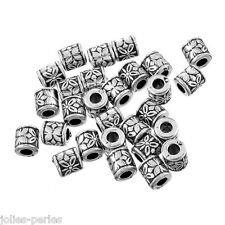 JP 50PCs Silver Tone Acrylic Beads Cylinder Printing Jewelry Findings DIY