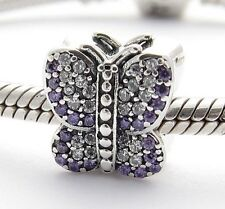 BUTTERFLY w PURPLE CZ CHARM Bead Sterling Silver .925 For European Bracelet 906