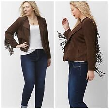 NEW LANE BRYANT faux suede fringe leather  jacket coat 26 28