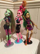 Monster High Muñecas X 3 Venus, Gigi y Jinafire Muñecas de visualización ex GC