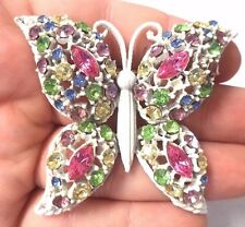 "*RARE* VINTAGE ESTATE UNSIGNED WEISS WHITE ENAMEL BUTTERFLY 2 1/2"" BROOCH! G1635"