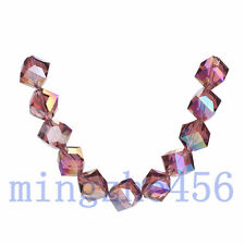 10ps Fushia AB Glass Crystal Faceted Bevel Hole Cube Bead 10mm Spacer Findings