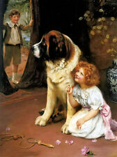 """Oil painting arthur john elsley - young girl boy playing games hide and seek 36"""""""