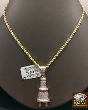 """10k Yellow Gold 0.53CT Diamond Plug Charm Pendent With 24"""" Rope Chain  For Women"""