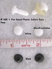 10 PAIR 9mm Safety Eyes, Nose, Button, No Pupil Crochet, Sew, Doll Anime RBE-1