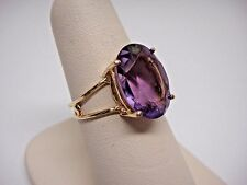 FINE NATURAL PURPLE 5.81 CT AMETHYST RING SOLID 10K YELLOW GOLD OVAL CUT ESTATE