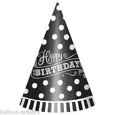 12 Classic Black & White Happy Birthday Party Dots Paper Cone Hats