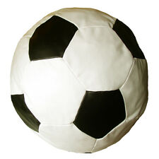 Faux Leather Black & Cream Football Classic Bean Bag with Filling