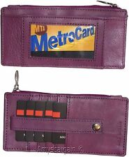 Leather Wallet. Card organizer Leather Credit card ID wallet Zip change purse BN