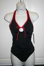 NWT Women's black & red Anne Cole Halter TANKINI Swimsuit Size 8 Free Ship