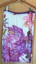 VIVIENNE TAM Women's Nylon Floral Skirt Pink Purple Knee Length Petite Large PL
