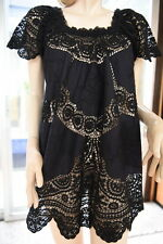 LIM'S COTTON HAND CROCHET & EMBRODERY DRESS OR TUNIC BLACK M (ONE SIZE)