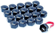 20 Black universal 19mm Hex alloy wheel nuts lugs bolts push on caps covers