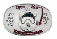 Bottle Opener Belt Buckle Open Here Can Opener Metal Silver Fashion Mens Womens