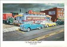 """ A Taste of the Past "" by Ken Zylla, Old Cars, Diner -- Art Print, NOT Postcard"