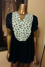 ANTHROPOLOGIE 9-H15 STCL New Blouse Top Blue  Birds Short Sleeves Size Large L L