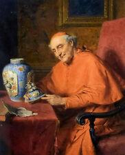 Oil eduard von grutzner - kardinal als kunstliebhaber cardinal as an art lover