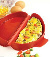 Norpro Microwave Oven Egg Omelet Pan Maker Cooker Red Silicone Tool Healthy 930