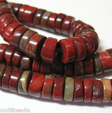 Red Jasper 10mm Heishi Rondelle Beads Large 2mm Hole 8""