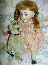 Kestner ? 155 antique all bisque strung dollhouse doll w/CLOSED mouth sleep eyes