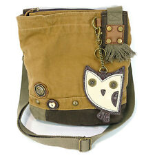 New Chala Handbag Patch Crossbody OWL  Brown Bag Canvas gift School Work Cute