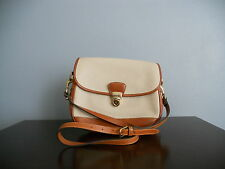 VINTAGE DOONEY & BOURKE BONE/TAN BROWN AWL LEATHER FLAP LOCK BAG PURSE + STRAP