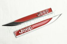 2Pcs Car Metal Red Jeep Bets Car Fender Skirts Knife Side Sticker Emblems Badge