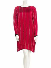 GIADA FORTE DRESS RED STRIP WITH SIDE POCKETS SIZE L  NEW WITH TAGS