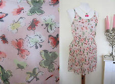 LADIES BUTTERFLY PLEATED CAMI DRESS SIZE 8-10 PINK SKATER SHIFT MOD 60'S PARTY