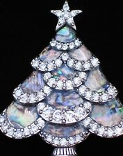 RHINESTONE PEWTER TONE GREY ABALONE SHELL CHRISTMAS TREE PIN BROOCH JEWELRY 1.75