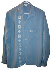 Vintage 50s PILGRIM Embroidered Rayon LOOP COLLAR BUTTON UP SHIRT Mens L Large