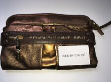 SEE BY CHLOE AUTHENTIC BRONZE AND BROWN LEATHER CLUTCH HANDBAG WALLET BAG