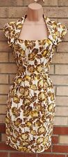 RIVER ISLAND WHITE YELLOW BROWN FLORAL TULIP BODYCON TUBE TEA DRESS 10 S